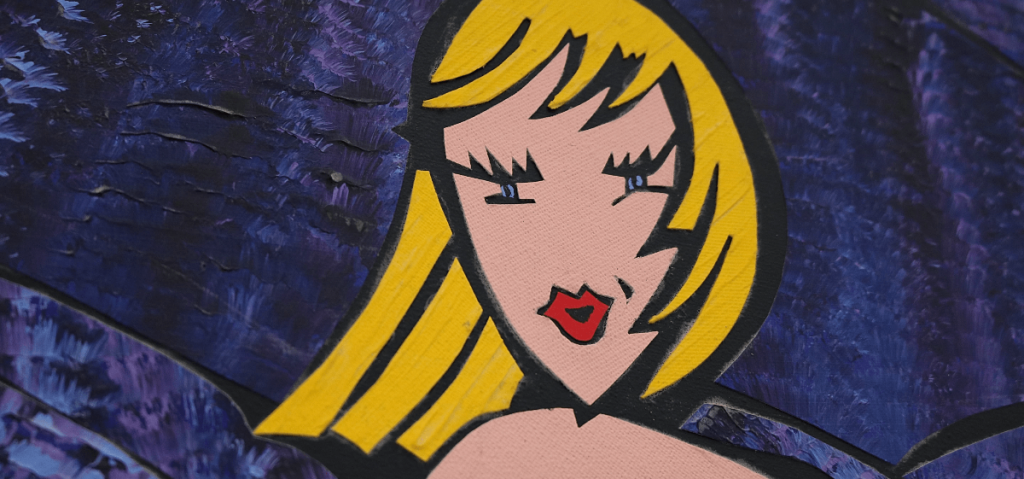 peinture avec ne femme blonde